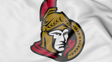 senators: Close-up of waving flag with Ottawa Senators NHL hockey team logo, 3D rendering