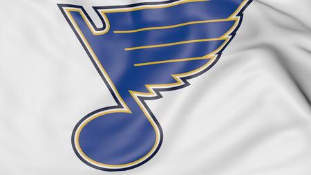 세인트 루이스 블루스와 함께 깃발을 흔들며 확대해서 NHL 하키 팀 로고, 3D 렌더링