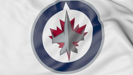 Close-up of waving flag with Winnipeg Jets NHL hockey team logo, 3D rendering