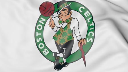 Close-up of waving flag with Boston Celtics NBA basketball team logo, 3D rendering