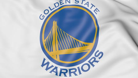 Close-up of waving flag with Golden State Warriors NBA basketball team logo, 3D rendering Zdjęcie Seryjne - 70711600