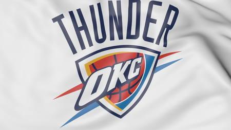 oklahoma: Close-up of waving flag with Oklahoma City Thunder NBA basketball team logo, 3D rendering Editorial