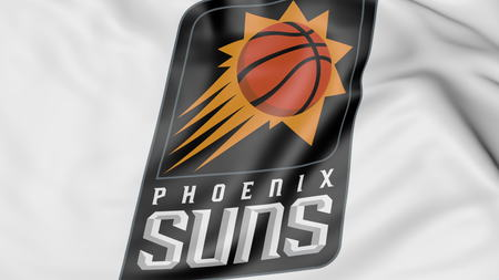 suns: Close-up of waving flag with Phoenix Suns NBA basketball team logo, 3D rendering Editorial