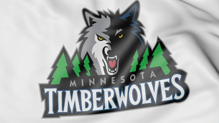 Close-up of waving flag with Minnesota Timberwolves NBA basketball team logo, 3D rendering