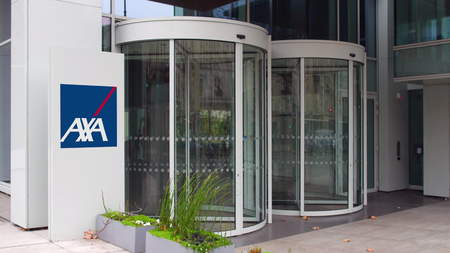 transnational: Street signage board with AXA logo. Modern office building. Editorial 3D rendering