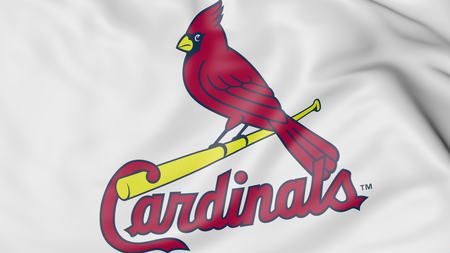 Close-up of waving flag with St. Louis Cardinals MLB baseball team logo, 3D rendering