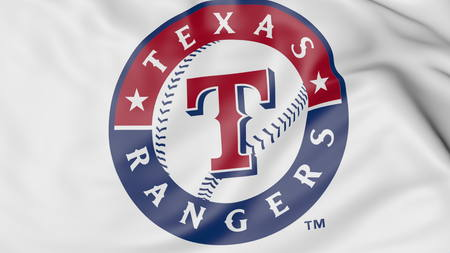 Close-up of waving flag with Texas Rangers MLB baseball team logo, 3D rendering