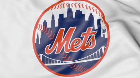 뉴욕 메츠 MLB 야구 팀 로고와 깃발을 흔들며의 확대, 3D 렌더링