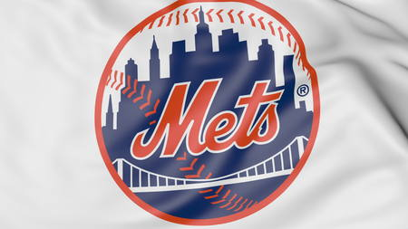 Close-up of waving flag with New York Mets MLB baseball team logo, 3D rendering