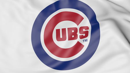 Close-up of waving flag with Chicago Cubs MLB baseball team logo, 3D rendering