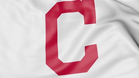 Close-up of waving flag with Cleveland Indians MLB baseball team logo, 3D rendering
