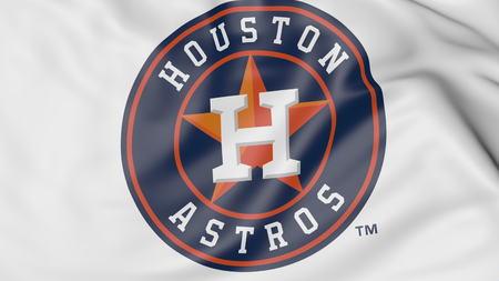 휴스턴 애스트로스 MLB 야구 팀 로고, 3D 렌더링 함께 깃발을 흔들며 확대해서