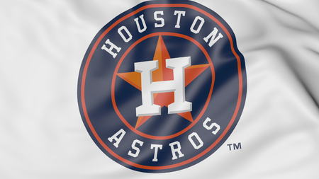 Close-up of waving flag with Houston Astros MLB baseball team logo, 3D rendering