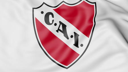 Close-up of waving flag with Club Atletico Independiente logo, 3D rendering