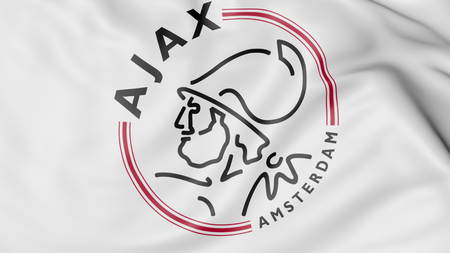 ajax: Close-up of waving flag with AFC Ajax football club logo, 3D rendering Editorial