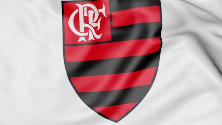 Close-up of waving flag with Clube de Regatas do Flamengo football club logo, 3D rendering