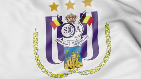 rsc: Close-up of waving flag with R.S.C. Anderlecht football club logo, 3D rendering