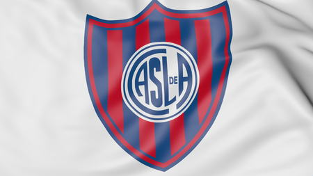 almagro: Close-up of waving flag with San Lorenzo de Almagro football club logo, 3D rendering