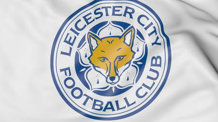 leicester: Close-up of waving flag with Leicester City FC football club logo, 3D rendering