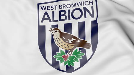 Close-up of waving flag with West Bromwich Albion FC football club logo, 3D rendering