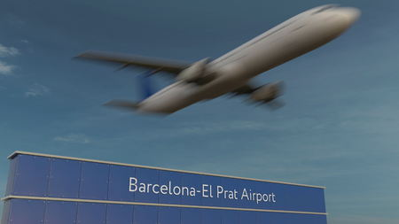 Commercial airplane taking off at Barcelona-El Prat Airport Editorial 3D rendering
