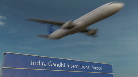 Commercial airplane taking off at Indira Gandhi Airport Editorial 3D rendering