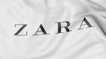 Close-up of waving flag with Zara logo, editorial 3D rendering