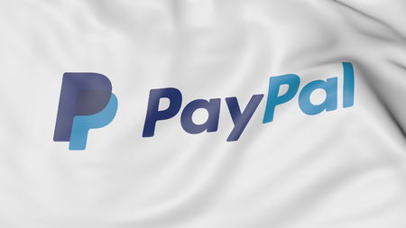 paypal: Close-up of waving flag with PayPal logo, editorial 3D rendering