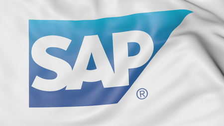 Close-up of waving flag with SAP SE logo, editorial 3D rendering