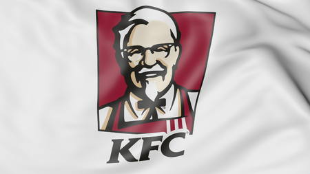 Close-up of waving flag with Kentucky Fried Chicken KFC logo, editorial 3D rendering Editorial