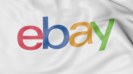 ebay: Close-up of waving flag with eBay Inc. logo, editorial 3D rendering Editorial