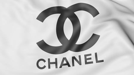 Close-up of waving flag with Chanel logo, editorial 3D rendering Editorial