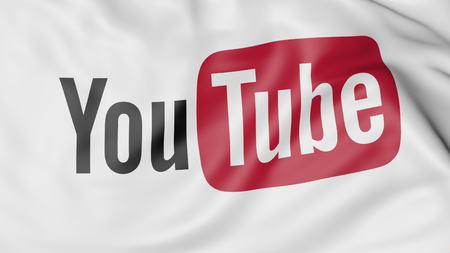 Close-up of waving flag with YouTube logo, editorial 3D rendering