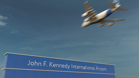 Commercial airplane landing at John F. Kennedy International Airport 3D rendering