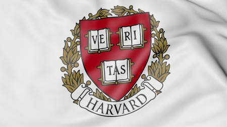 Close-up of waving flag with Harvard emblem 3D rendering Editorial