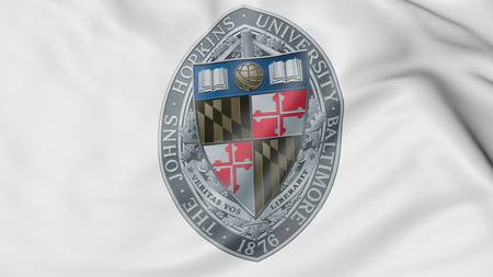 Close-up of waving flag with Johns Hopkins University emblem 3D rendering