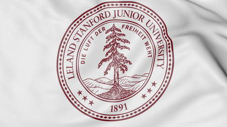 Close-up of waving flag with Stanford University emblem 3D rendering