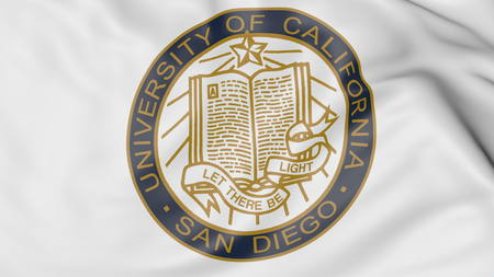 Close-up of waving flag with University of California San Diego emblem 3D rendering