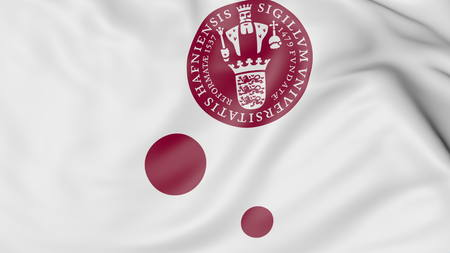 Close-up of waving flag with University of Copenhagen emblem 3D rendering