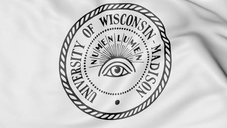 university of wisconsin: Close-up of waving flag with University of Wisconsin Madison emblem 3D rendering Editorial