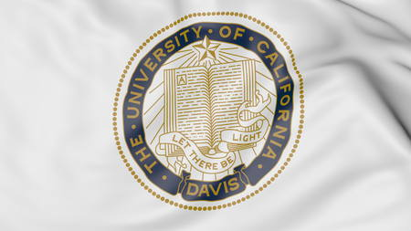 Close-up of waving flag with University of California Davis emblem 3D rendering