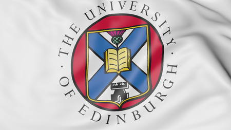 Close-up of waving flag with University of Edinburgh emblem 3D rendering