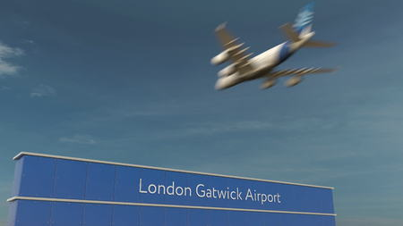 Commercial airplane landing at London Gatwick Airport 3D rendering