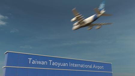 Commercial airplane landing at Taiwan Taoyuan International Airport 3D rendering