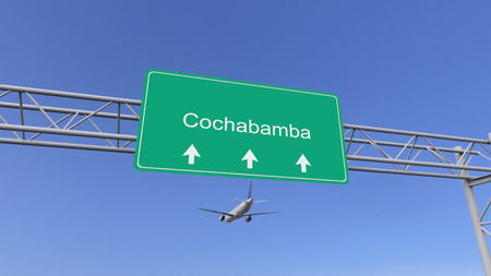 cochabamba: Twin engine commercial airplane arriving to Cochabamba airport. Travelling to Bolivia conceptual 3D rendering