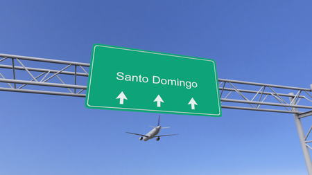 santo domingo: Twin engine commercial airplane arriving to Santo Domingo airport. Travelling to Dominican Republic conceptual 3D rendering