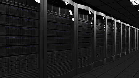 Modern server room 3D rendering. Cloud technologies, ISP, corporate IT, ecommerce business concepts Stock Photo