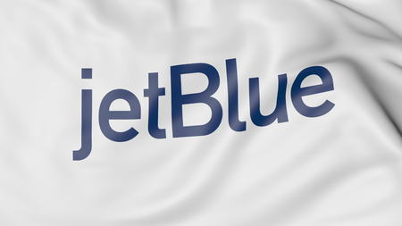 jetblue: Waving flag of JetBlue editorial 3D rendering