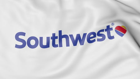 Waving flag of Southwest Airlines editorial 3D rendering Editorial