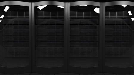 Server racks 3D rendering. Cloud technologies, ISP, corporate IT, ecommerce business concepts Stock Photo